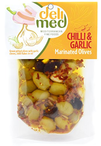 deli med - Marinated Greek Olives CHILI & GARLIC - 220g