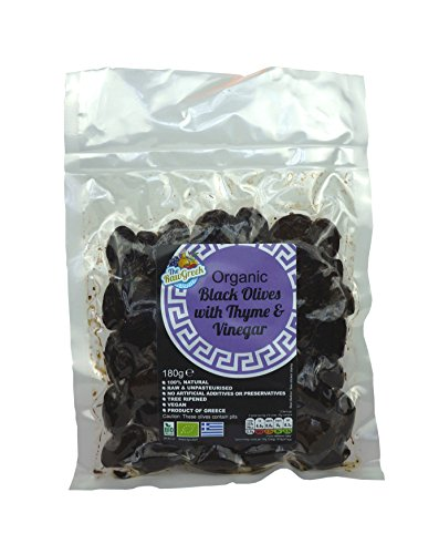 The Raw Greek Organic Black Date Olives with Thyme - 180g