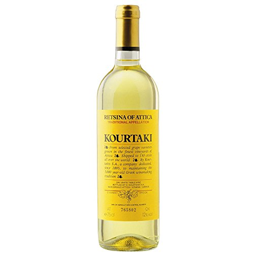 Kourtaki Retsina of Attica Dry Savatiano Greek White Wine 75cl Bottle