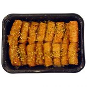 Greek Handmade Saragli ( Baklava Fingers) with Pistachio Nuts & Syrup Traditional Flavour - Rich Aromas Net Weight 900gr