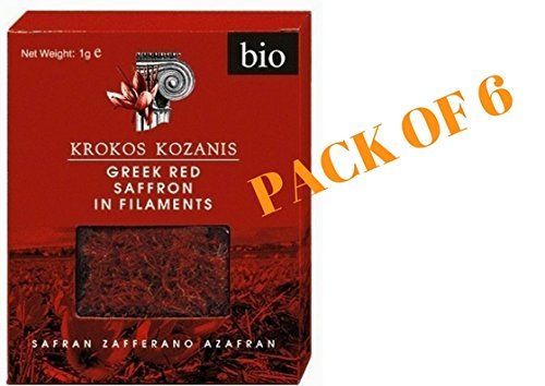 Krocus Kozanis Organic Greek Red Saffron 1g (Pack of 6)
